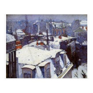 Vue des toits (effet de neige) ou des toits sous carte postale