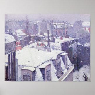 Vue des toits ou des toits sous la neige, 1878 posters