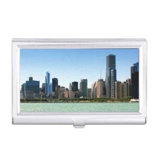 Vue d'horizon de Chicago par le lac Michigan Boîtier Pour Cartes De Visite