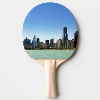 Vue d'horizon de Chicago par le lac Michigan Raquette De Ping Pong