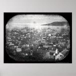 Vue du daguerréotype 1855 de port de San Francisco Affiches