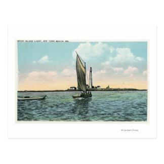Vue du phare d'île d'avantage outre de York Carte Postale
