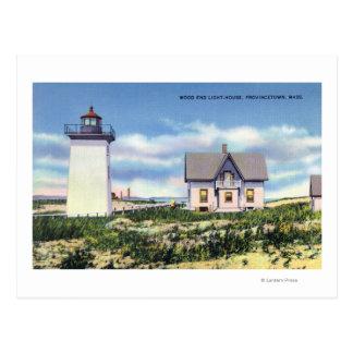 Vue du phare en bois d'extrémité carte postale