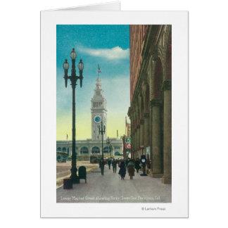 Vue du St du marché inférieur montrant la tour de Carte De Vœux