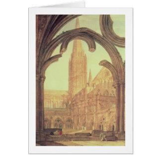 Vue du sud de cathédrale de Salisbury du Cloiste Carte De Vœux