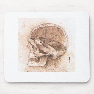 Vue d'un crâne Leonardo da Vinci Tapis De Souris