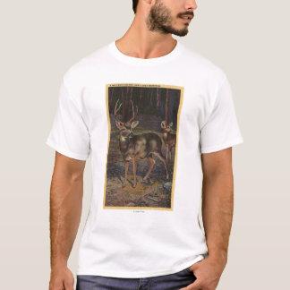 Vue d'un mâle et d'une daine sauvages t-shirt