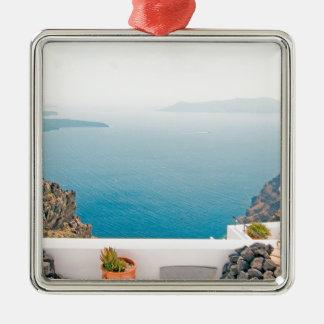Vue en île de Santorini Ornement Carré Argenté