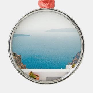 Vue en île de Santorini Ornement Rond Argenté