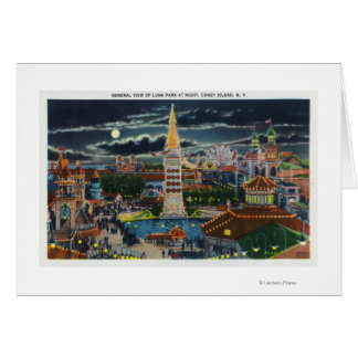 Vue générale de Luna Park la nuit Carte De Vœux