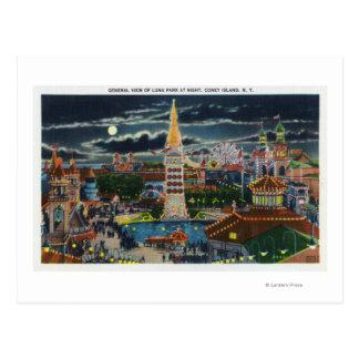 Vue générale de Luna Park la nuit Carte Postale