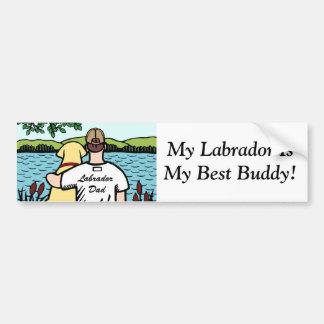 Vue jaune 2 de Labrador et de lac dad Autocollant Pour Voiture