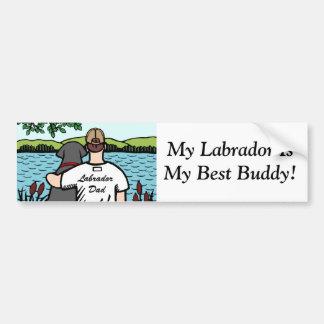 Vue noire 2 de Labrador et de lac dad Autocollant Pour Voiture