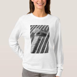 Vue noire et blanche de petite grange en pierre t-shirt