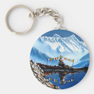 Vue panoramique de montagne Népal d'Annapurna Porte-clé Rond