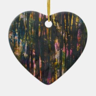 Vue par la forêt foncée ornement cœur en céramique