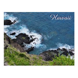 Vue pittoresque de ressacs de falaise d'Hawaï Cartes Postales