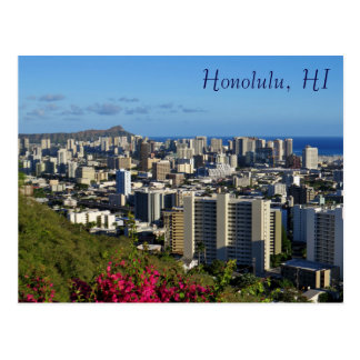Vue Punchbowl de tête de diamant de Honolulu Hawaï Carte Postale