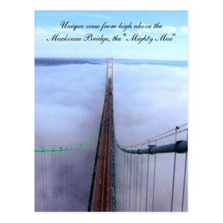 Vue unique de au-dessus du pont de Mackinac Carte Postale