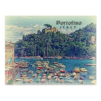 Vue vintage de Portofino, Italie Cartes Postales