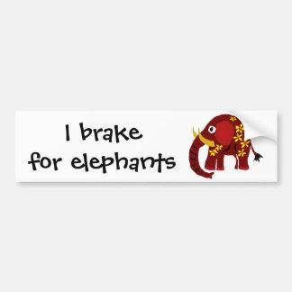 VW art de primitif d'éléphant et de marguerites Autocollant De Voiture