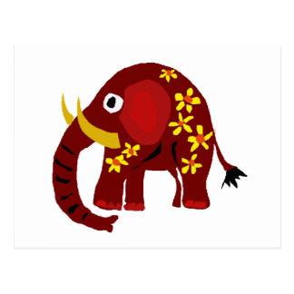 VW art de primitif d'éléphant et de marguerites Cartes Postales