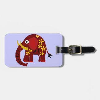 VW art de primitif d'éléphant et de marguerites Étiquette À Bagages