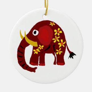VW art de primitif d'éléphant et de marguerites Ornement Rond En Céramique