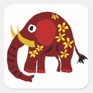 VW art de primitif d'éléphant et de marguerites Sticker Carré