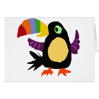 VW art drôle de primitif d'oiseau de toucan Carte De Vœux