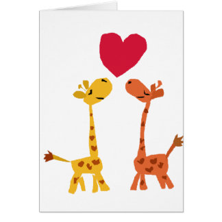 VW bande dessinée drôle d'amour de girafe Carte De Vœux