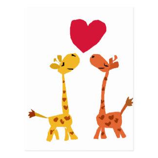 VW bande dessinée drôle d'amour de girafe Carte Postale