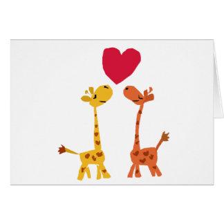 VW bande dessinée drôle d'amour de girafe Cartes