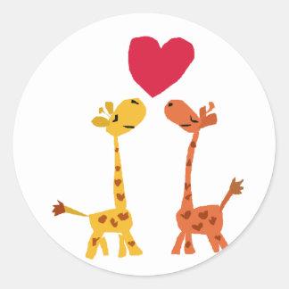 VW bande dessinée drôle d'amour de girafe Sticker Rond