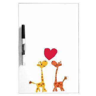 VW bande dessinée drôle d'amour de girafe Tableaux Blancs Effaçables À Sec