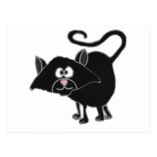 VW bande dessinée drôle de chat noir Carte Postale