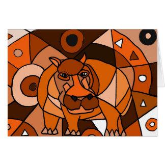 VW conception d'art abstrait d'hippopotame Carte De Vœux