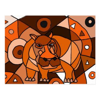 VW conception d'art abstrait d'hippopotame Cartes Postales