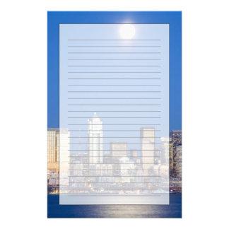 WA, horizon de Seattle, Seattle et baie 3 Motifs Pour Papier À Lettre