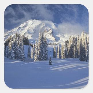 WA, mont Rainier NP, mont Rainier et paradis Sticker Carré