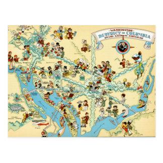 Washington, C.C.  VintageMap drôle Carte Postale