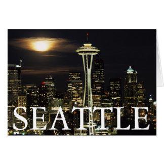 Washington, Seattle, horizon la nuit de Kerry 2 Carte De Vœux