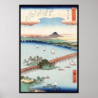 Waterscape vintage japonais frais de paysage posters