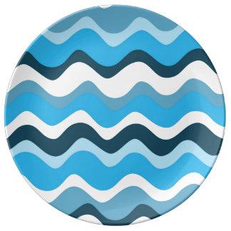 Waves 2 (blue) assiettes en porcelaine