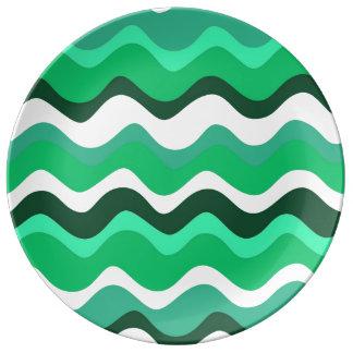 Waves 2 (green) assiettes en porcelaine