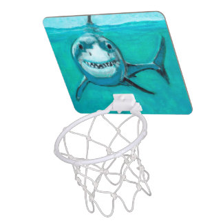 """Wayne"" le grand requin blanc Mini-panier De Basket"