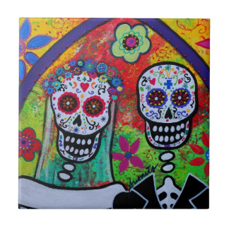 WEDDING DIA DE LOS MUERTOS TILE PETIT CARREAU CARRÉ