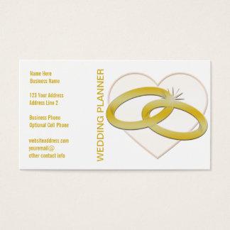 Wedding planner du coeur | d'anneaux de mariage cartes de visite