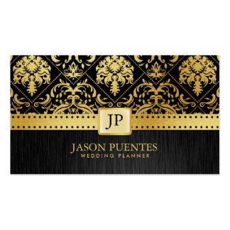 Wedding planner élégant de noir et d'or cartes de visite professionnelles