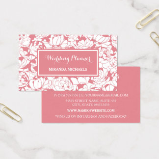 Wedding planner Girly floral rose-clair moderne Cartes De Visite
